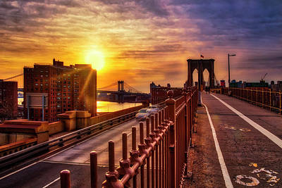 Photograph - Manhattan  And Brooklyn Bridge Nyc Sunrise by Susan Candelario