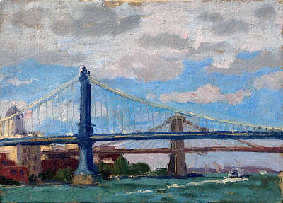 Painting - Manhattan And Brooklyn Bridges Nyc by Thor Wickstrom