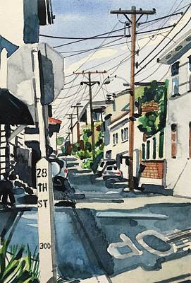 Animal Watercolors Juan Bosco - Manhattan Beach Street by Luisa Millicent