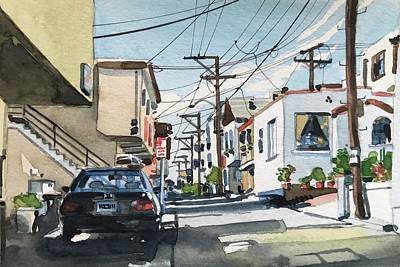 Animal Watercolors Juan Bosco - Manhattan Beach on Crest Avenue by Luisa Millicent
