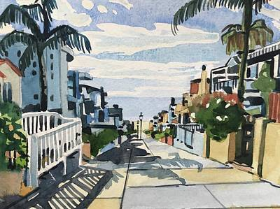 A White Christmas Cityscape - Manhattan Beach Walkstreet by Luisa Millicent