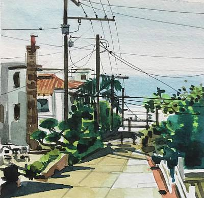 Animal Watercolors Juan Bosco - Manhattan Beach Towards the Strand by Luisa Millicent