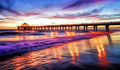 Painting - Manhattan Beach Pier Sunset by Christopher Arndt