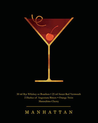 Mixed Media - Manhattan - Cocktail - Classic Cocktails Series - Black and Gold - Modern, Minimal Decor by Studio Grafiikka