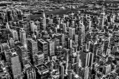 Photograph - Manhattan Nyc Electrifying Pulse Bw by Susan Candelario