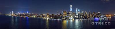 Photograph - Manhattan, NYC Skyline at Night by Petr Hejl PhotoFlight Aerial Media