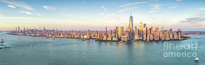 Photograph - Manhattan NYC Skyline Sunset Panorama by Petr Hejl Photoflight Aerial Media