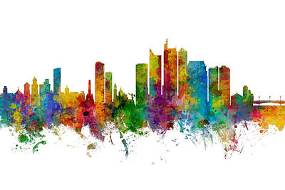 Digital Art - Manila Philippines Skyline by Michael Tompsett