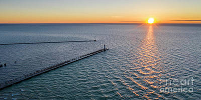Royalty-Free and Rights-Managed Images - Manistee Subset Panorama Aerial by Twenty Two North Photography