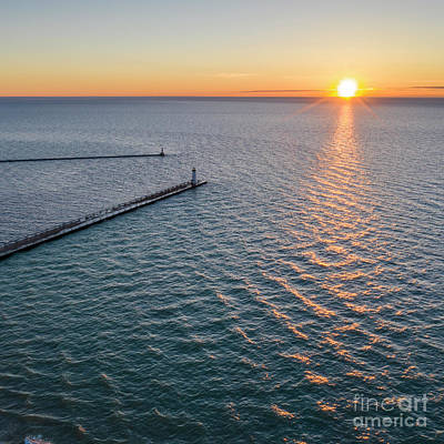 Royalty-Free and Rights-Managed Images - Manistee Sunset Aerial by Twenty Two North Photography