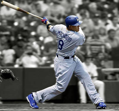 Oriole Mixed Media - Manny Machado, Los Angeles Dodgers, Home Run  by Thomas Pollart