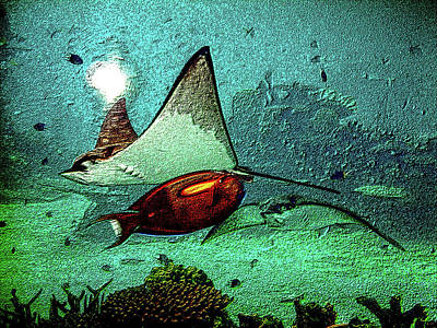 Watercolor Butterflies - Manta Rays and Parrot Fish Underwater by Roy Jacob