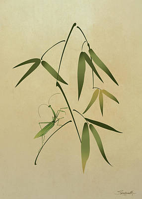 Digital Art - Mantis And Bamboo by M Spadecaller