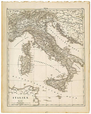 Topography Wall Art - Digital Art - Map Italy 1840 by Thepalmer