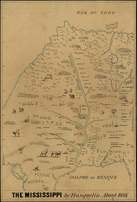 Drawing - Map Mississippi River, C1682 by Granger