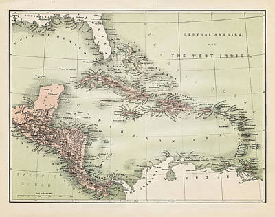 Trinidad And Tobago Wall Art - Digital Art - Map Od The Caribbean 1860 by Thepalmer