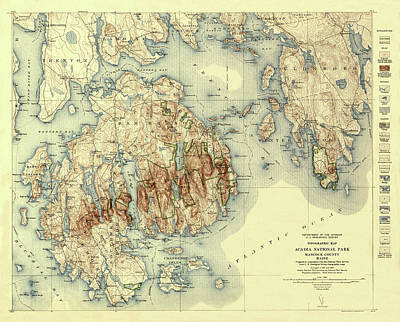 Photograph - Map Of Acadia National Park 1931 by Andrew Fare