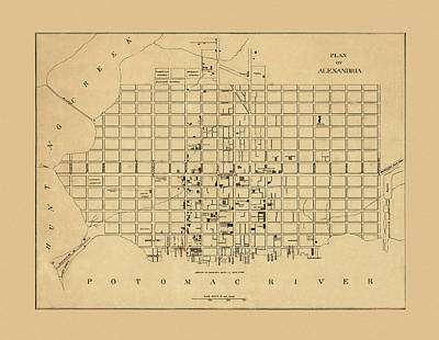 Photograph - Map Of Alexandria 1862 by Andrew Fare