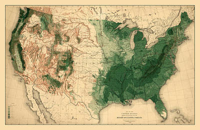 Photograph - Map Of American Forests 1883 by Andrew Fare