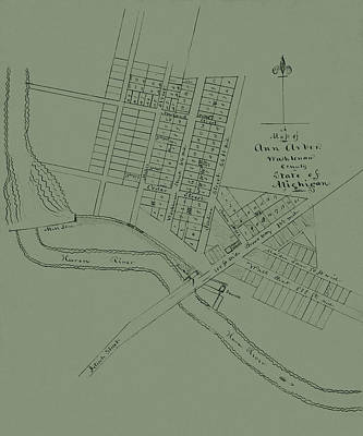 Photograph - Map Of Ann Arbor 1832 by Andrew Fare