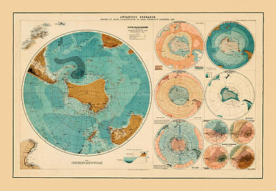 Photograph - Map Of Antarctic 1893 by Andrew Fare