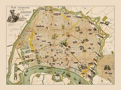 Photograph - Map Of Antwerp 1885 by Andrew Fare