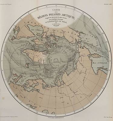 Painting - Map Of Arctic Polar Regions 1866 by Celestial Images
