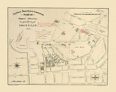 Photograph - Map Of Auckland 1873 by Andrew Fare