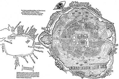 Drawing - Map Of Aztec Capital Tenochtitlan by Spanish School