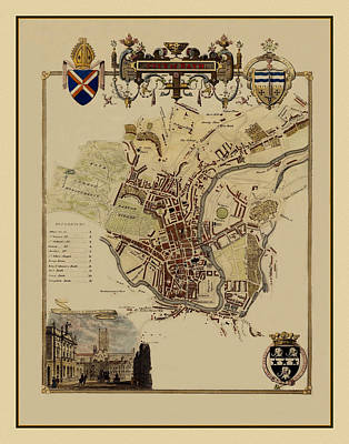 Photograph - Map Of Bath England 1837 by Andrew Fare