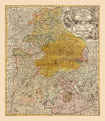 Photograph - Map Of Bavaria 1724 by Andrew Fare