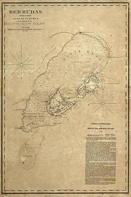 Photograph - Map Of Bermuda 1819 by Andrew Fare