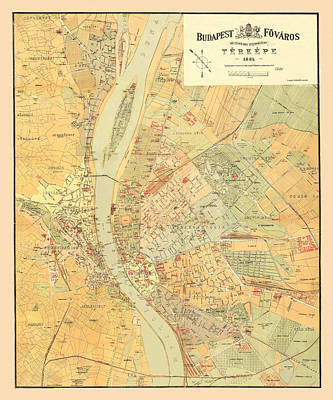 Photograph - Map Of Budapest 1884 by Andrew Fare