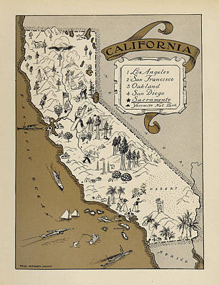 Photograph - Map Of California 1930 by Andrew Fare