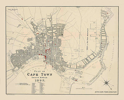 Photograph - Map Of Capetown 1897 by Andrew Fare