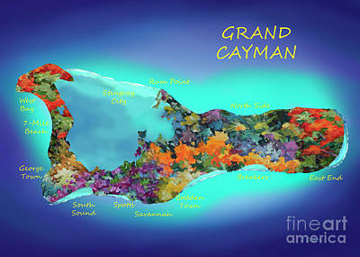 Digital Art - Map of Cayman 5x7 Ratio by John Clark
