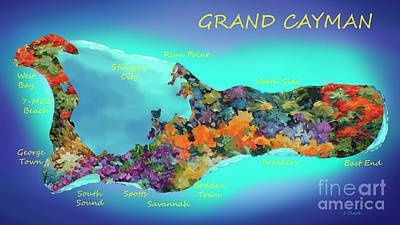Digital Art - Map of Cayman by John Clark