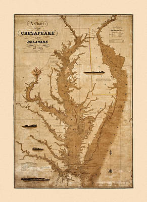 Photograph - Map Of Chesapeake Bay 1832 by Andrew Fare