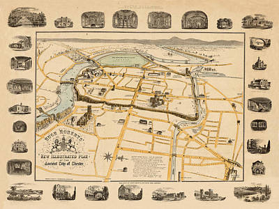 Photograph - Map Of Chester 1860 by Andrew Fare