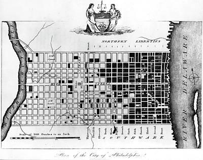 Map Of Colonial Philadelphia Art Print by Hulton Archive