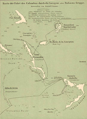 Map Of Columbus Route In Bahamas Art Print by Kean Collection
