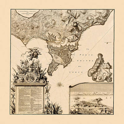 Photograph - Map Of Corfu 1735 by Andrew Fare