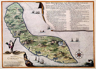 Photograph - Map Of Curacao 1680 by Andrew Fare