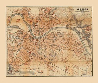 Photograph - Map Of Dresden 1910 by Andrew Fare