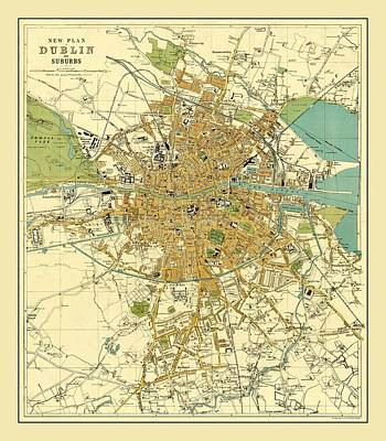 Photograph - Map Of Dublin 1913 by Andrew Fare