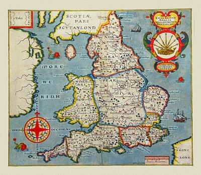 Photograph - Map Of England 1607 by Andrew Fare