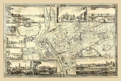 Photograph - Map Of Exeter 1744 by Andrew Fare