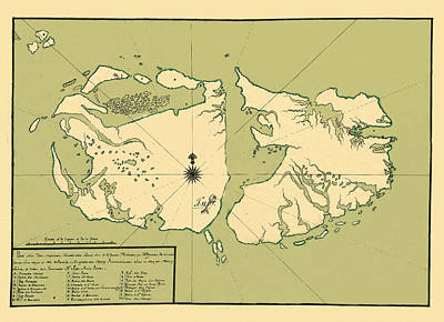 Photograph - Map Of Falkland Islands 1700 by Andrew Fare