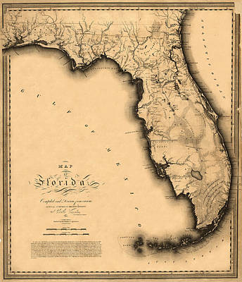 Photograph - Map Of Florida 1823 by Andrew Fare