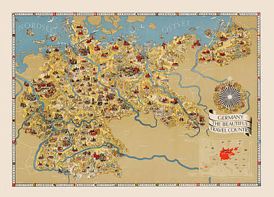 Photograph - Map Of Germany 1935 by Andrew Fare